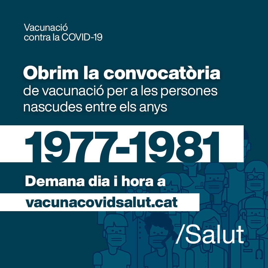 Oberta la vacunació per a persones nascudes entre els anys 1977 i 1981