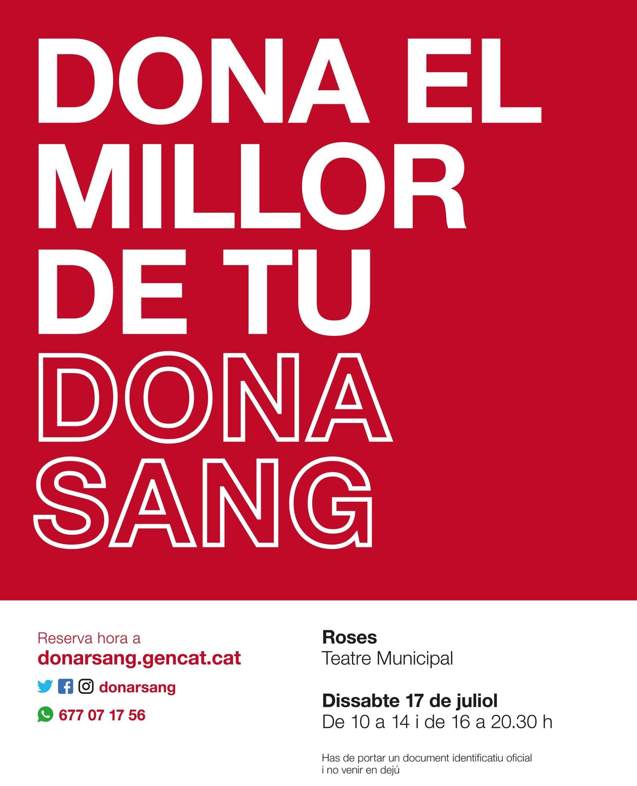 Aquest dissabte, 17 de juliol, donació de sang a Roses