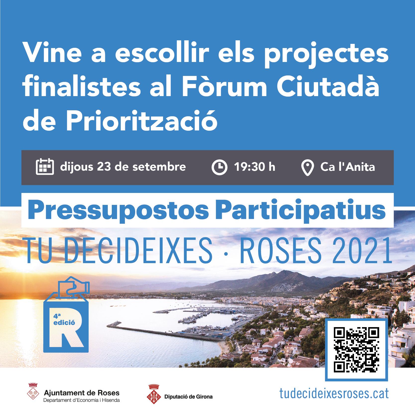 L'Ajuntament de Roses convoca un Fòrum Ciutadà per a escollir les propostes finalistes del Pressupostos Participatius 2021