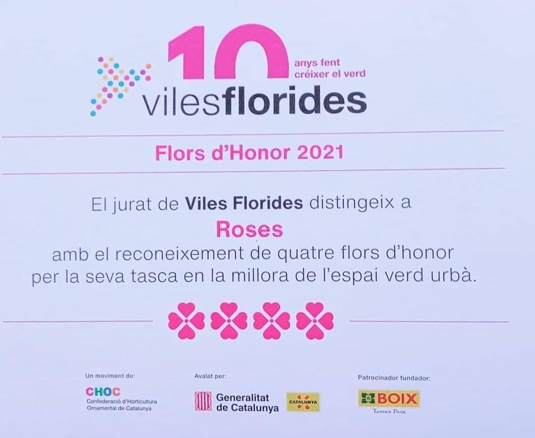 Roses assoleix la Quarta Flor d'Honor, màxima distinció del moviment Viles Florides