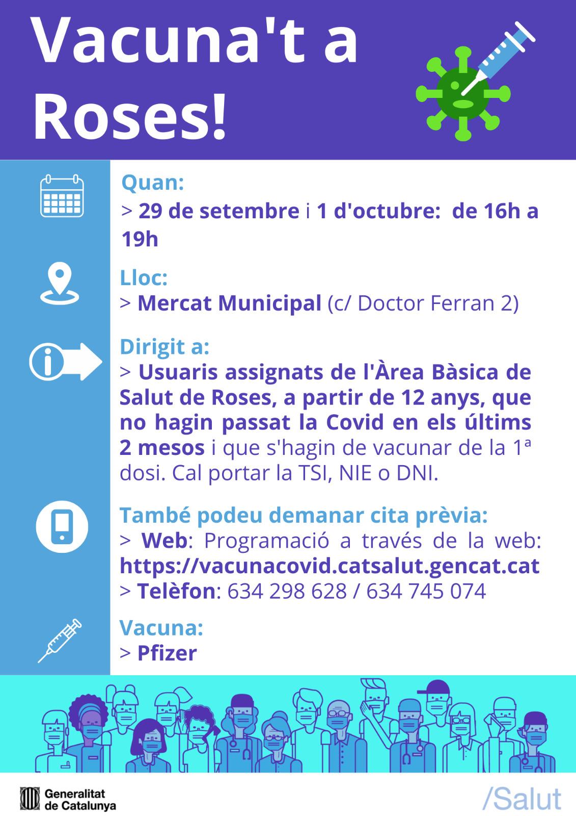 Dimecres, 29 de setembre, i divendres, 1 d'octubre, vacunació sense cita a Roses